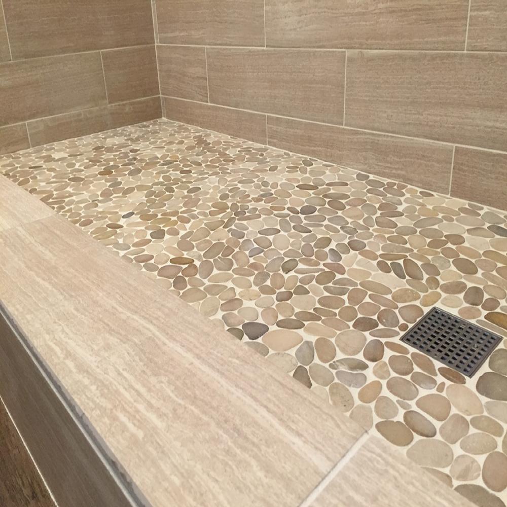 Sliced Java Tan Pebble Tile Shower Floor
