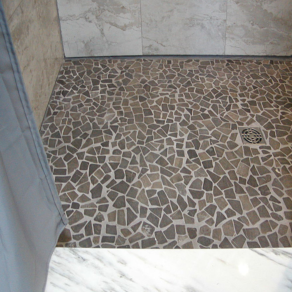 Grey Marble Mosaic Tile Shower Flooring