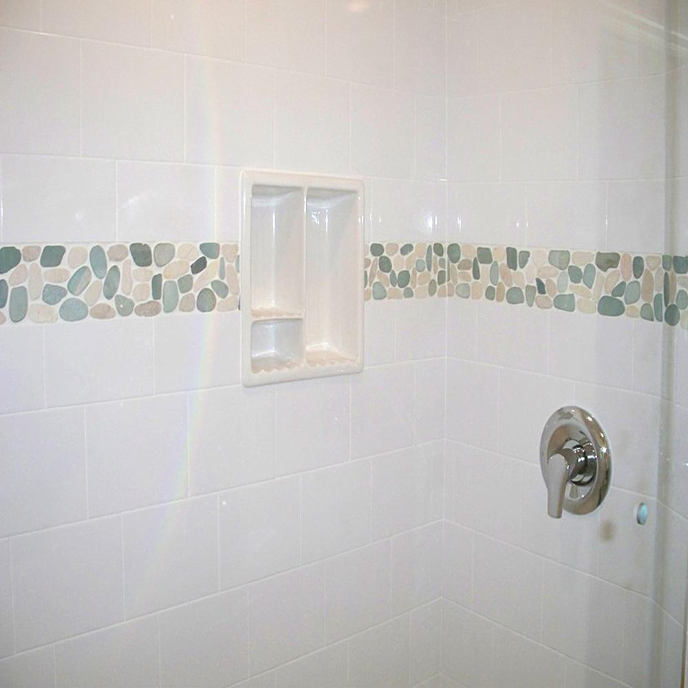 Sliced Sea Green & White Pebble Tile Shower Border