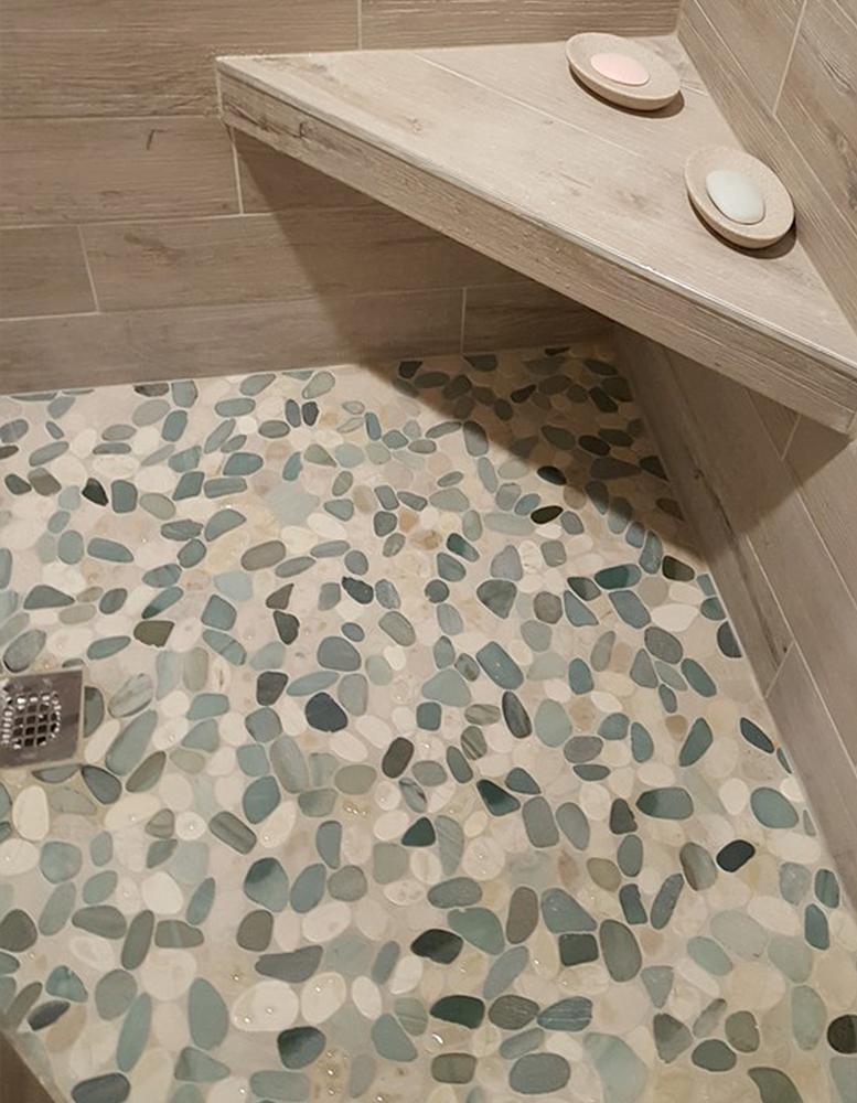 Sliced Sea Green & White Shower Pan
