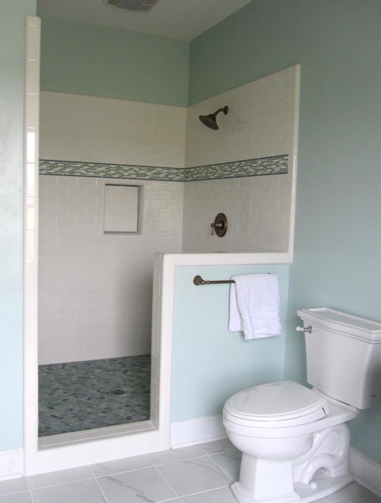 Sliced Sea Green Pebble Tile Shower Pan