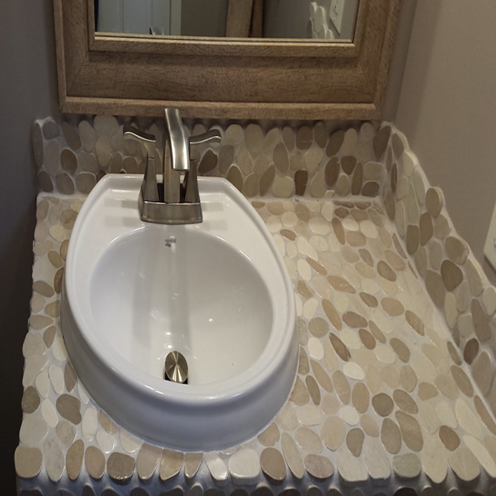 Sliced Tan & White Pebble Tile Countertop