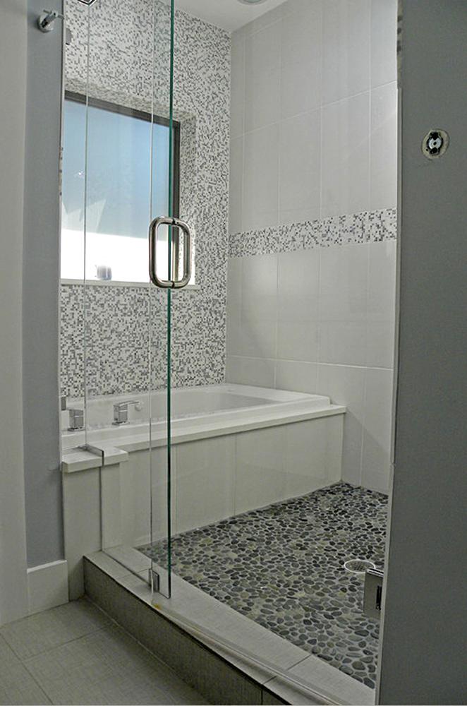 Spring Rain Pebble Tile Shower Pan