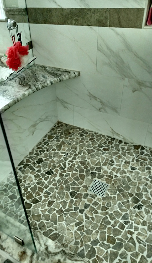 Stone Grey Mosaic Shower Pan