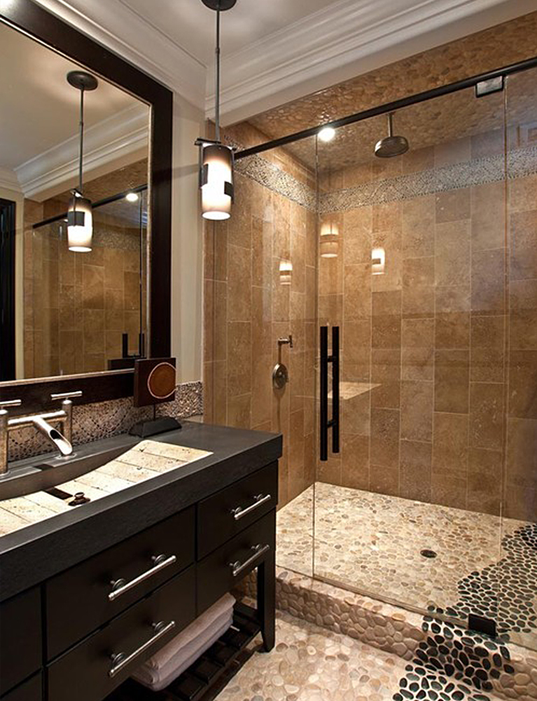 Tan & Black Pebble Tile Shower and Bathroom Flooring