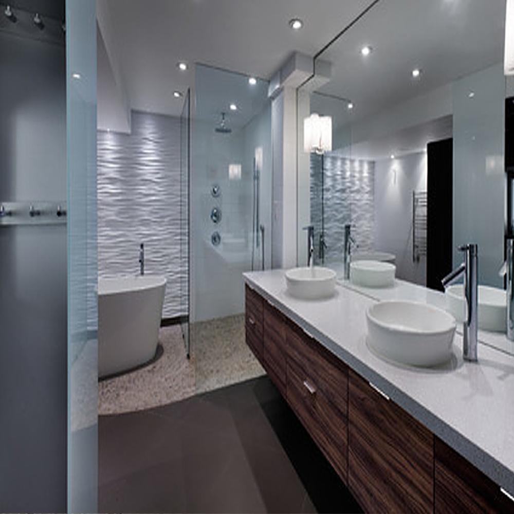 Tan Pebble Bathroom & Shower Flooring