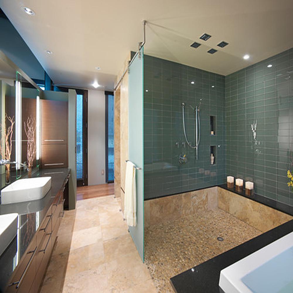 Tan Pebble Modern Shower Floor Tile