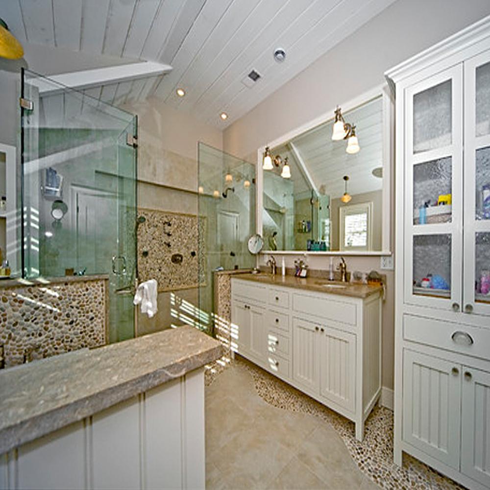 Tan Pebble Tile Bathroom Accents