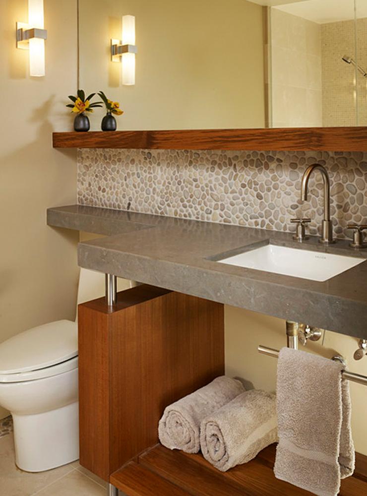 Tan Pebble Tile Bathroom Vanity Backsplash