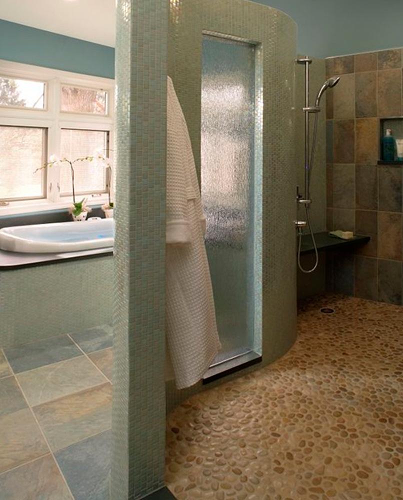 Tan Pebble Tile Shower Floor