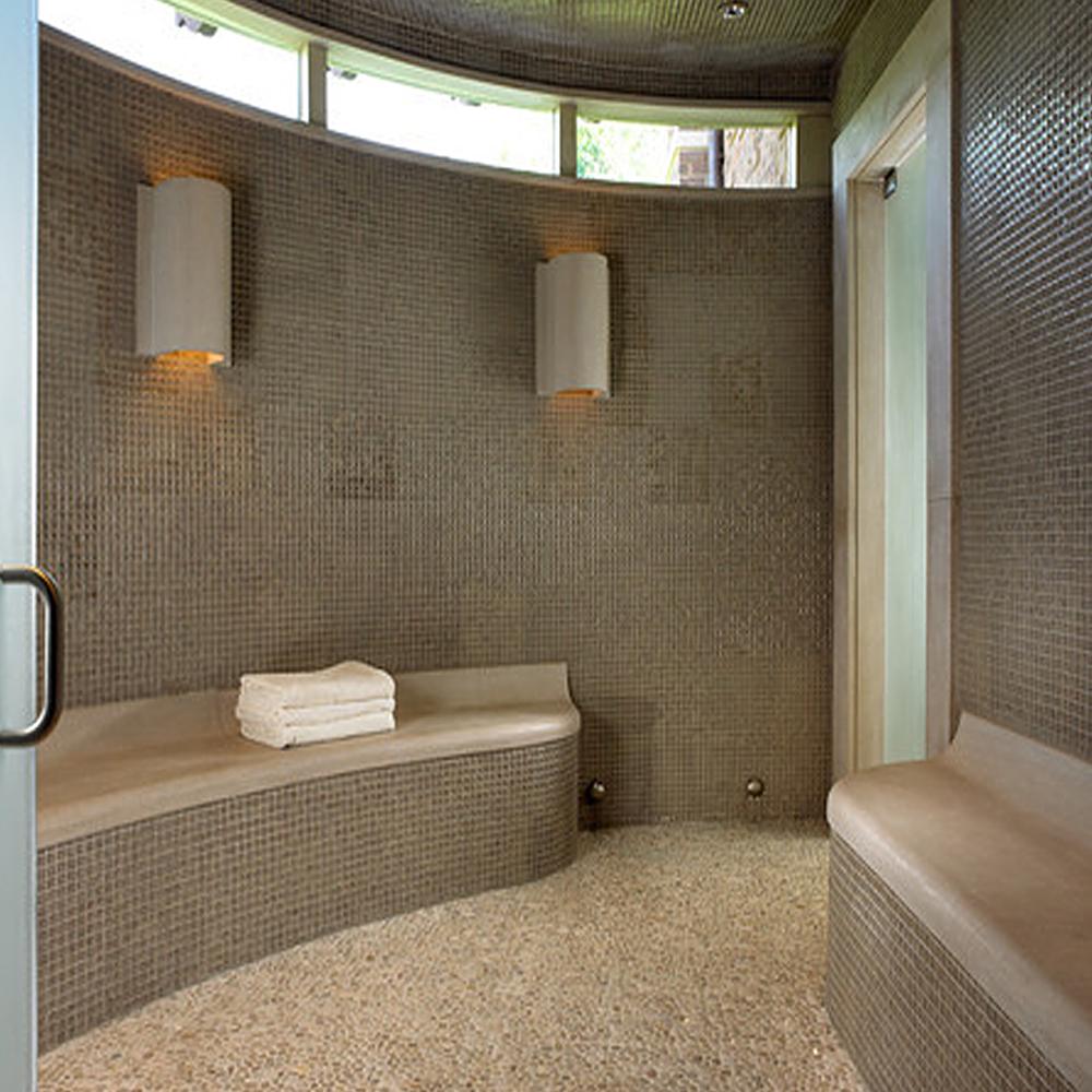 Tan Pebble Tile Shower Flooring