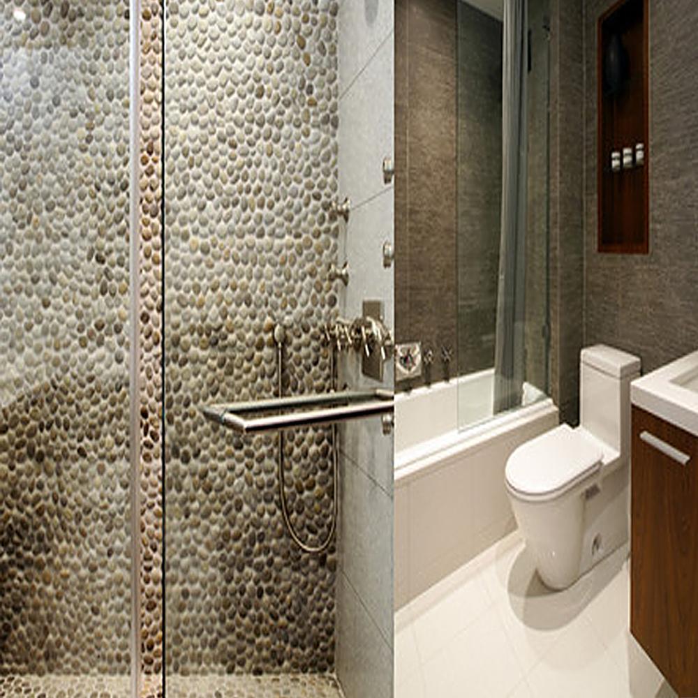 Tan Pebble Tile Shower Walls