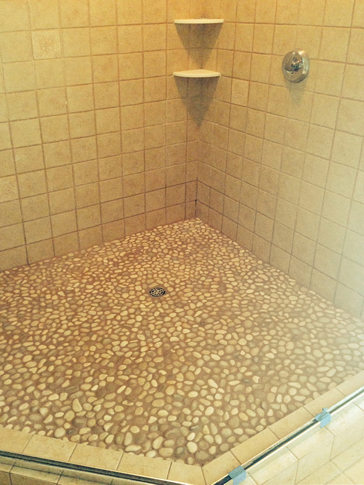 Java Tan Pebble Tile Shower