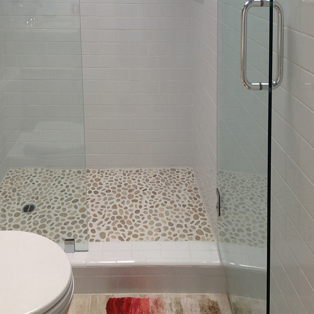 Java Tan Pebble Tile Shower Floor