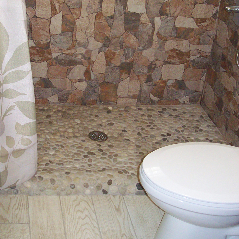 Java Tan Pebble Tile Shower Pan