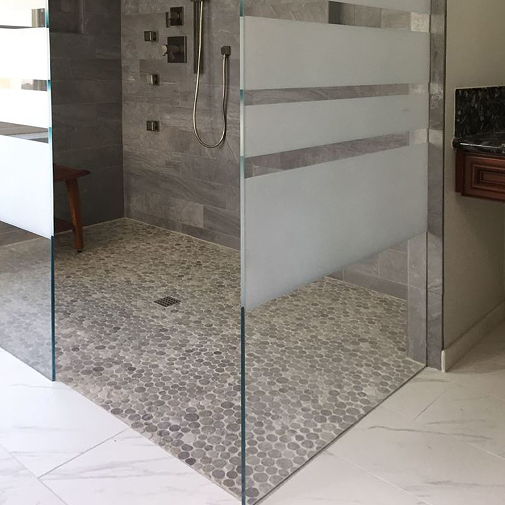 Light Grey Stone Circle Walk In Shower Flooring