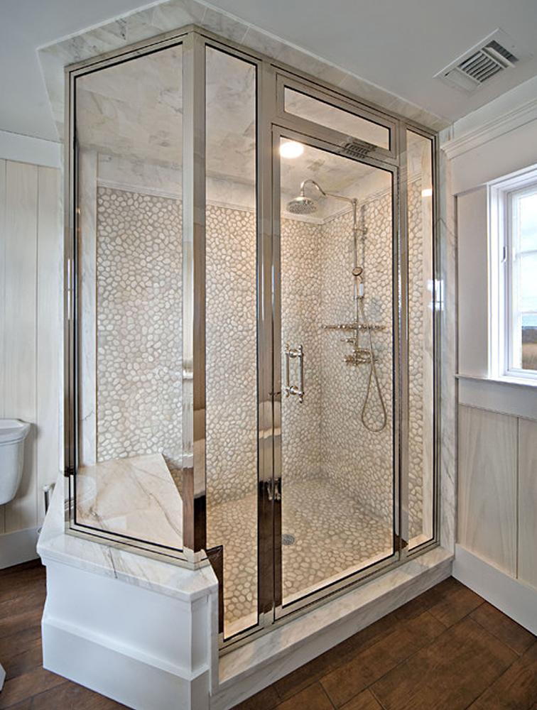 White Pebble Tile Shower