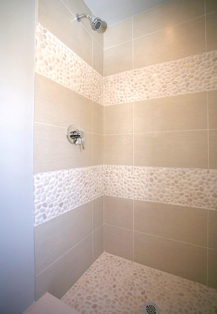 White Pebble Tile Shower Pan & Border Strips