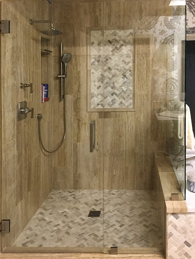 Mixed Quartz Herringbone Mosaic Shower Floors & Walls