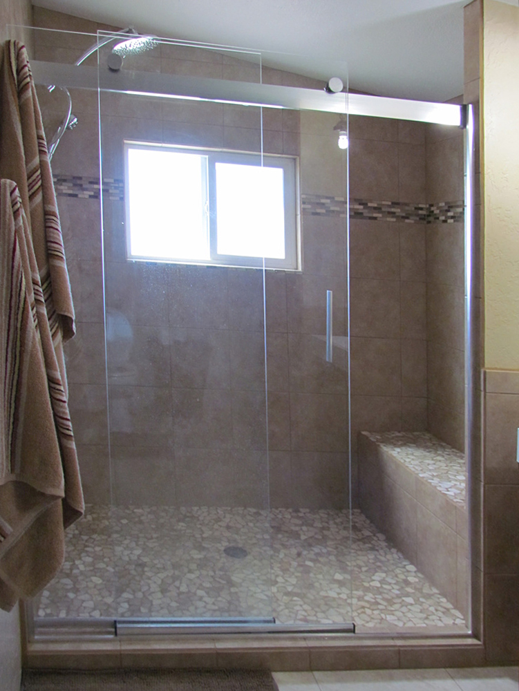 Mixed Quartz Mosaic Tile Shower Pan