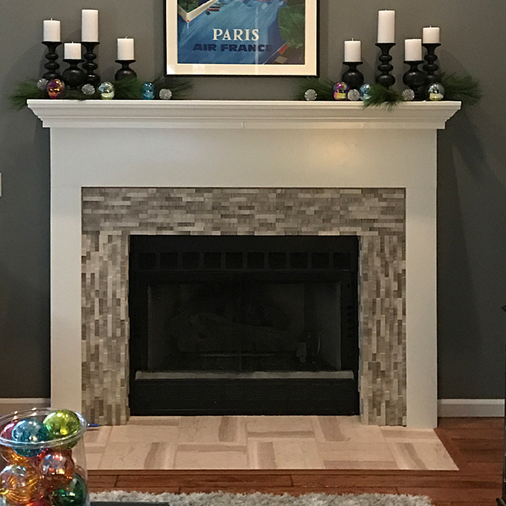 3d Polished Grey Brick Stone Tile Fireplace Surround
