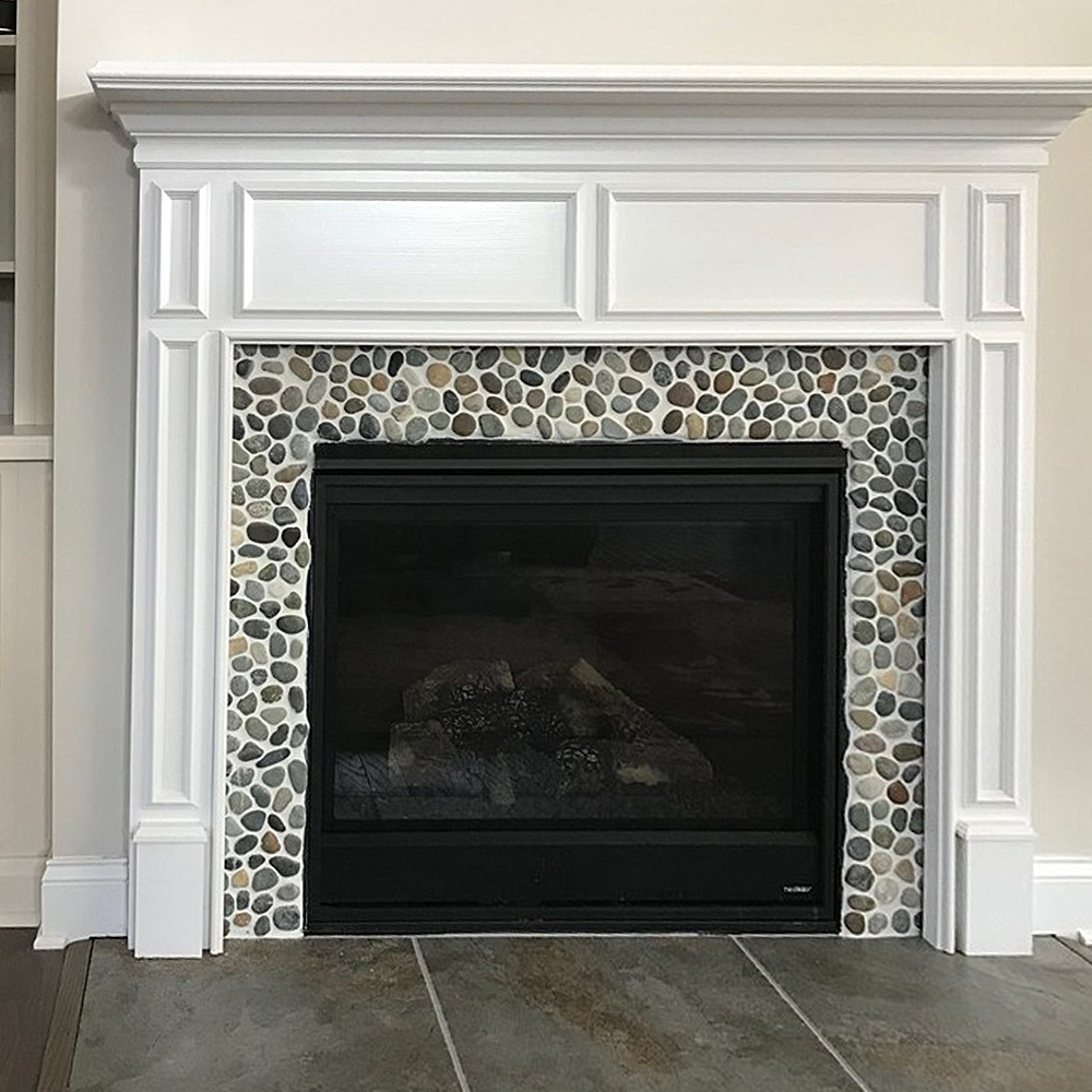 bali ocean pebble tile update fireplace surround