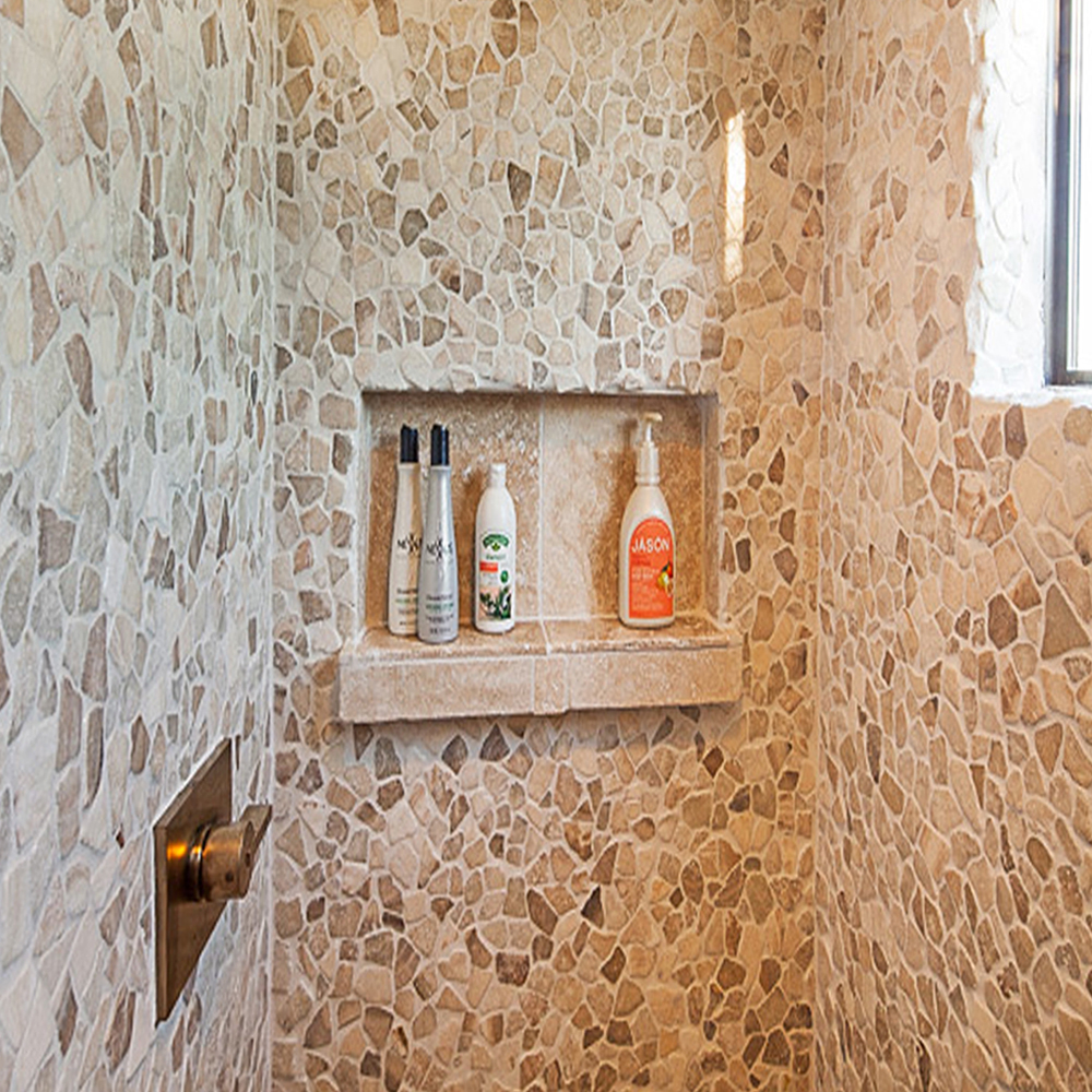 Mixed Quartz Pebble Tile Shower Walls