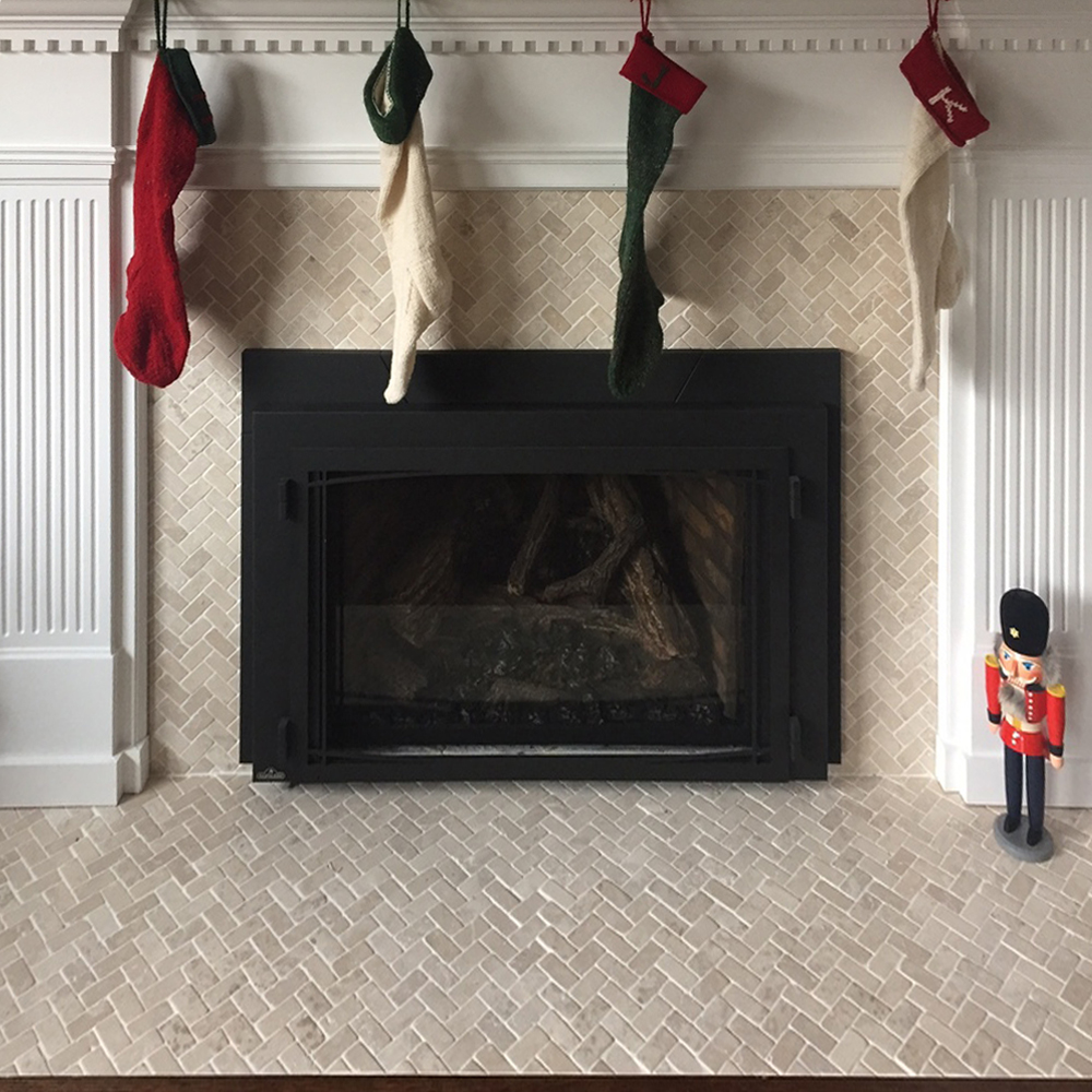 Cream Herringbone Mosaic Tile Fireplace Surround