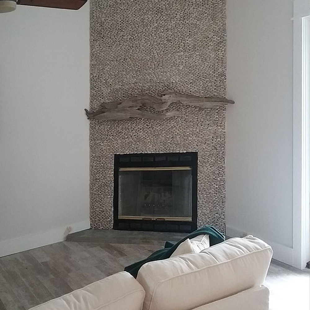Java Tan Standing Pebble Tile Fireplace