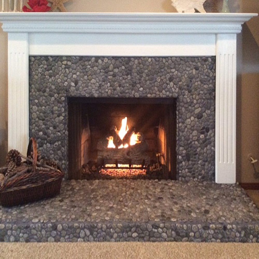 Speckled Pebble Tile Fireplace