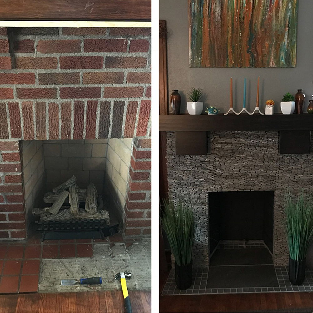 Standing Grey Mosaic Stone Tile DIY Fireplace Update - Before and After