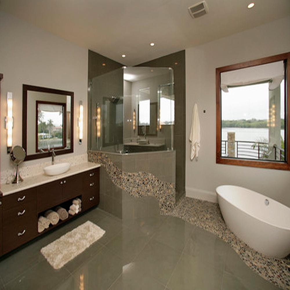 Bali Ocean Pebble Tile Bathroom Floor