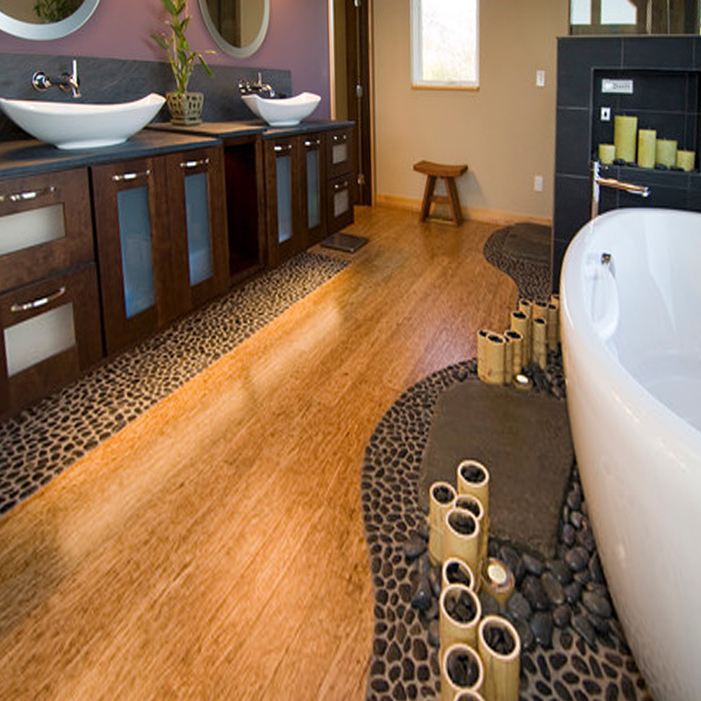 Black Pebble Tile Bathroom Floor and Tub Accents