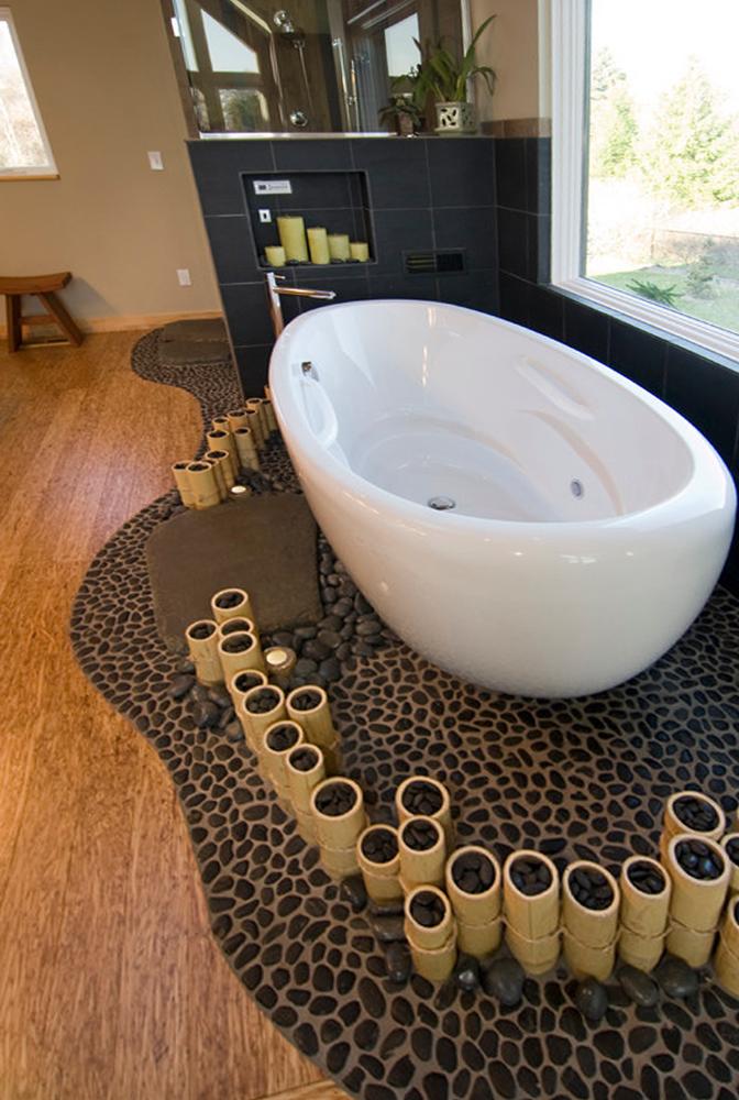 Black Pebble Tile Spa Like Tub Surround