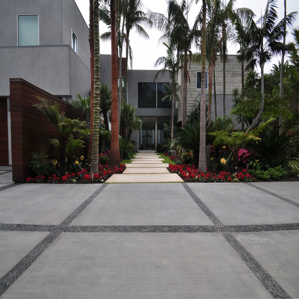 Charcoal Black Standing Pebble Tile Driveway