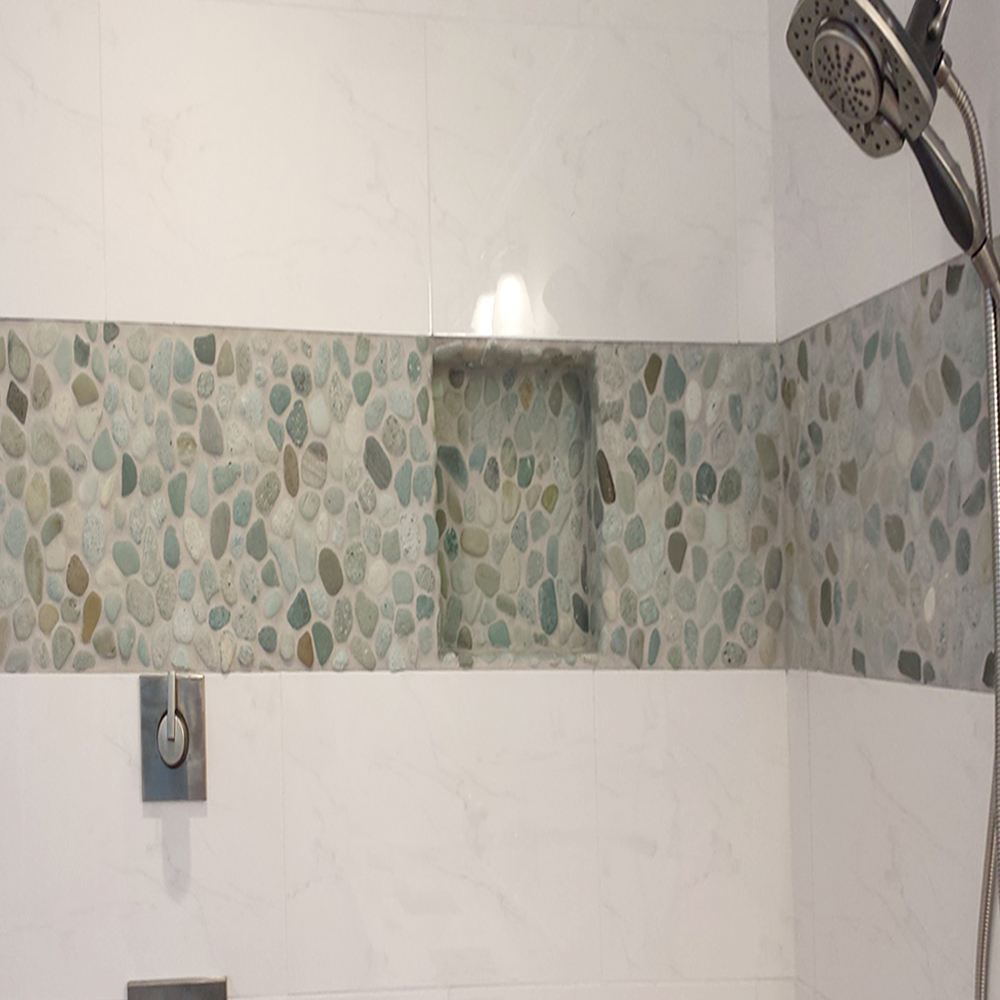 Sea Green Pebble Tile Shower Accent