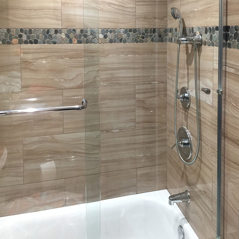 Sliced Bali Ocean Pebble Tile Shower Border Accent