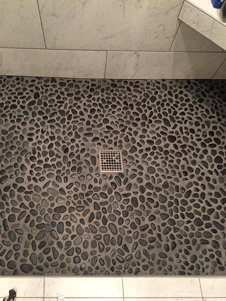 Glazed Charcoal Black Pebble Tile Shower Floor