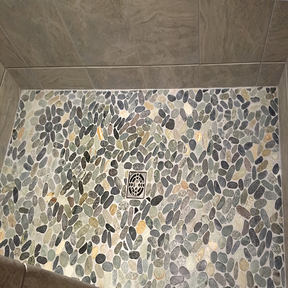 Sliced Bali Ocean Pebble Tile Shower Pan