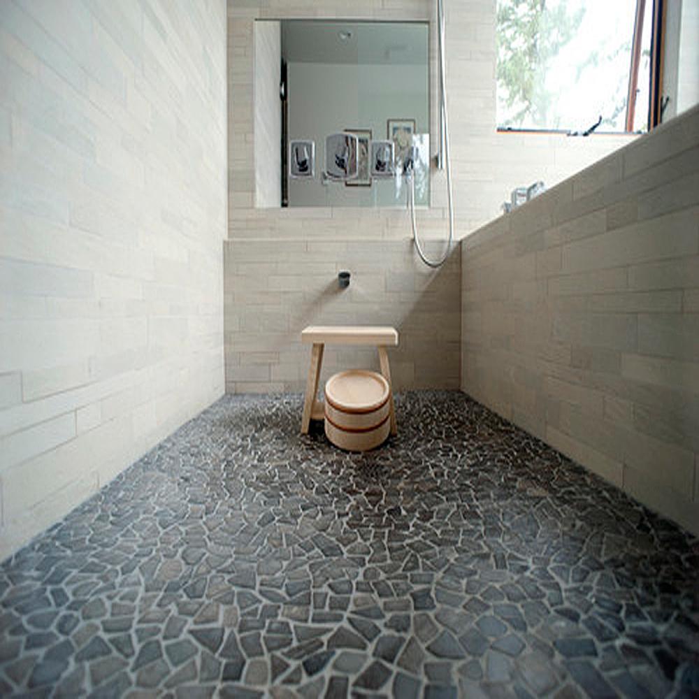 Glazed Grey Marble Bathroom Flooring