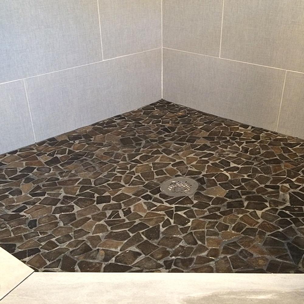 Glazed Grey Stone Mosaic Tile Shower Floor