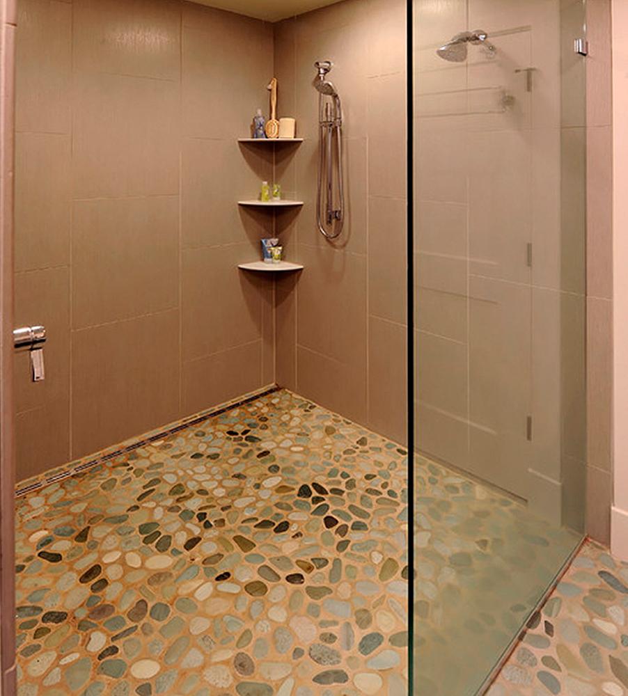 green pebble shower floor tile