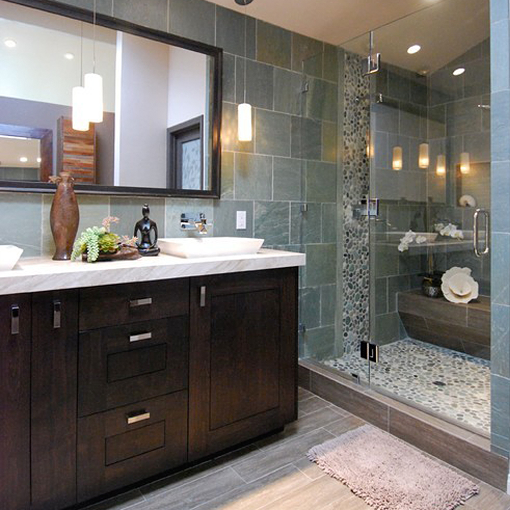 green-pebble-tile-shower-pan-and-accent-strip