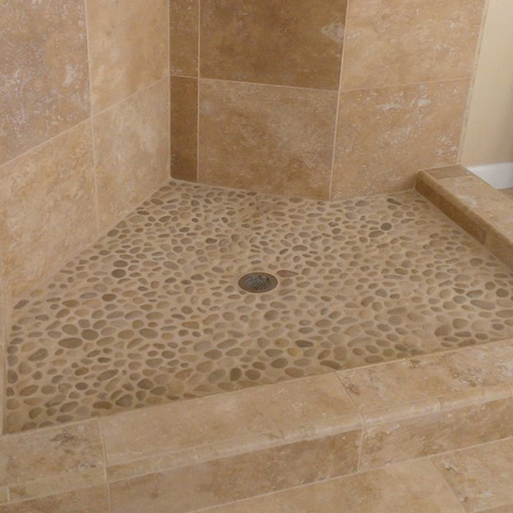Java Tan Pebble Tile Shower Flooring