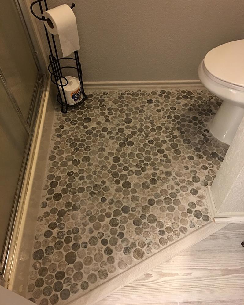Light Grey Moon Mosaic Tile Powder Room Flooring