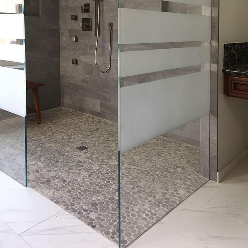 Light Grey Stone Circle Walk In Shower Flooring