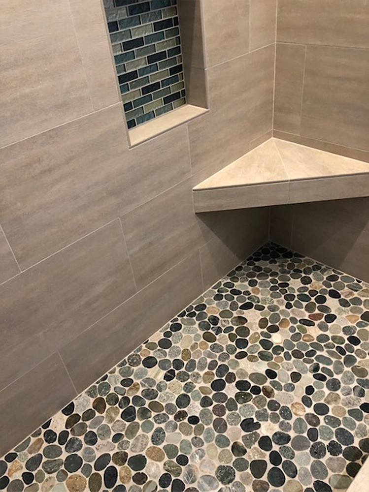 Sliced Pebble Tile Shower Floor
