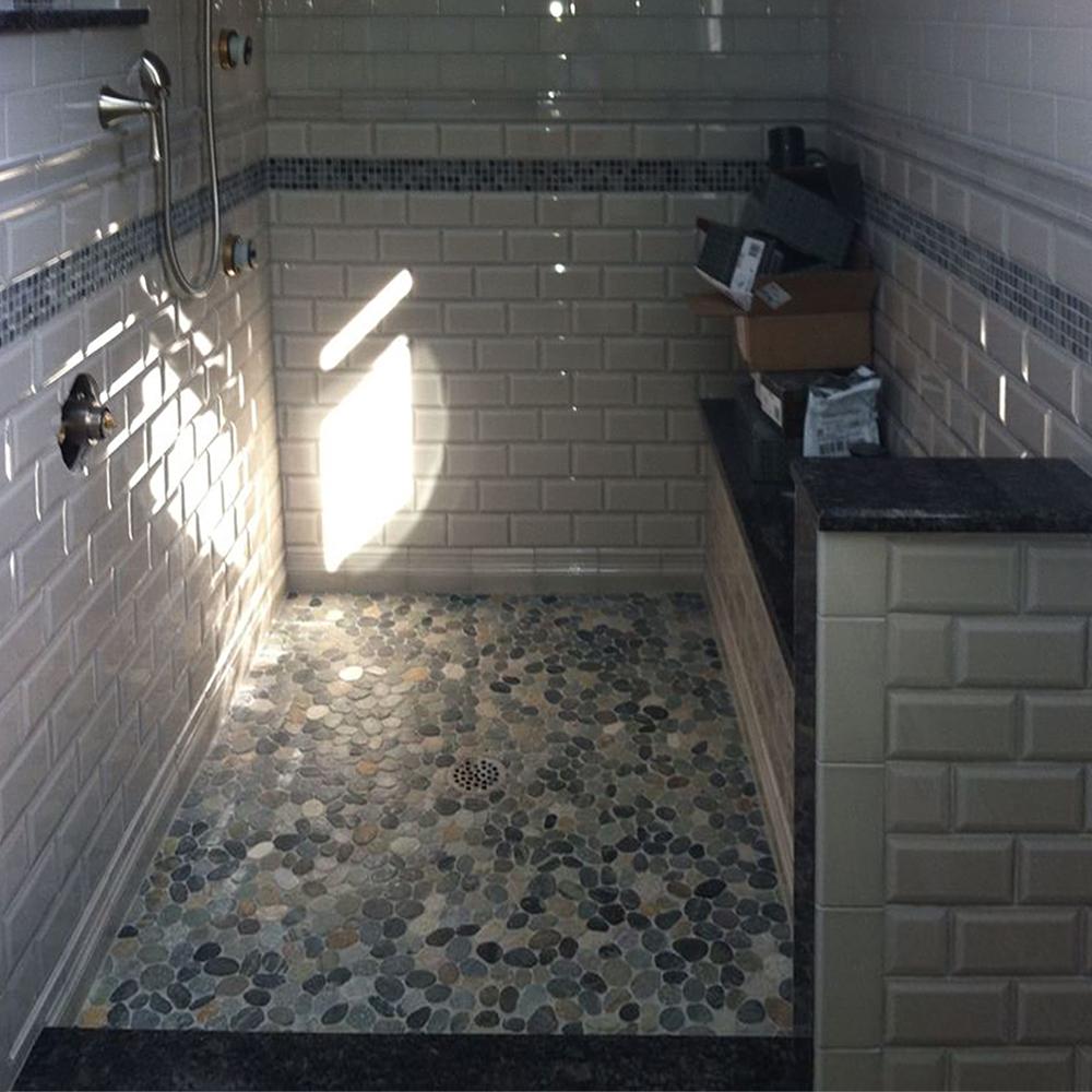 Sliced Bali Ocean Pebble Tile Shower Flooring