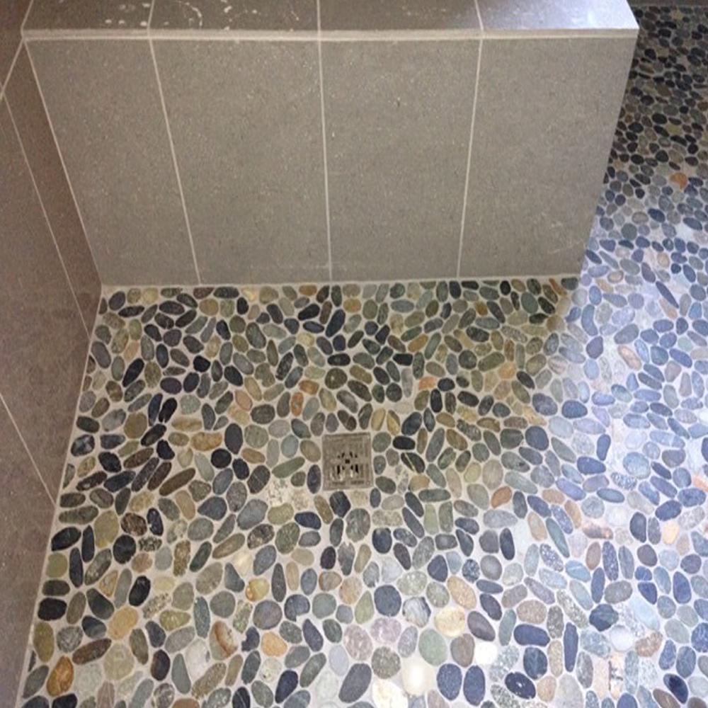 Sliced Bali Ocean Pebble Tile Shower Pan Close Up