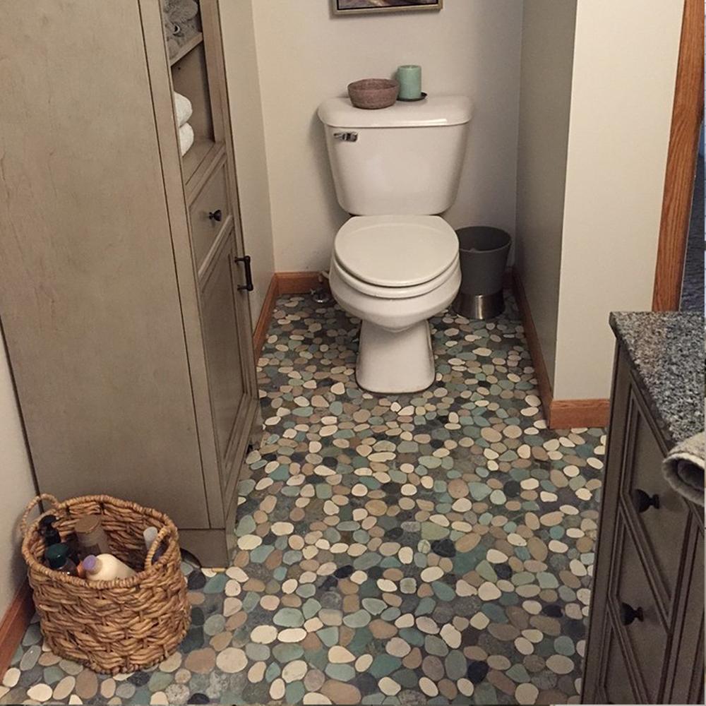 Sliced Bali Turtle Pebble Tile Bathroom Flooring